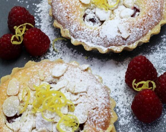 Raspberry and Lemon Bakewell tart